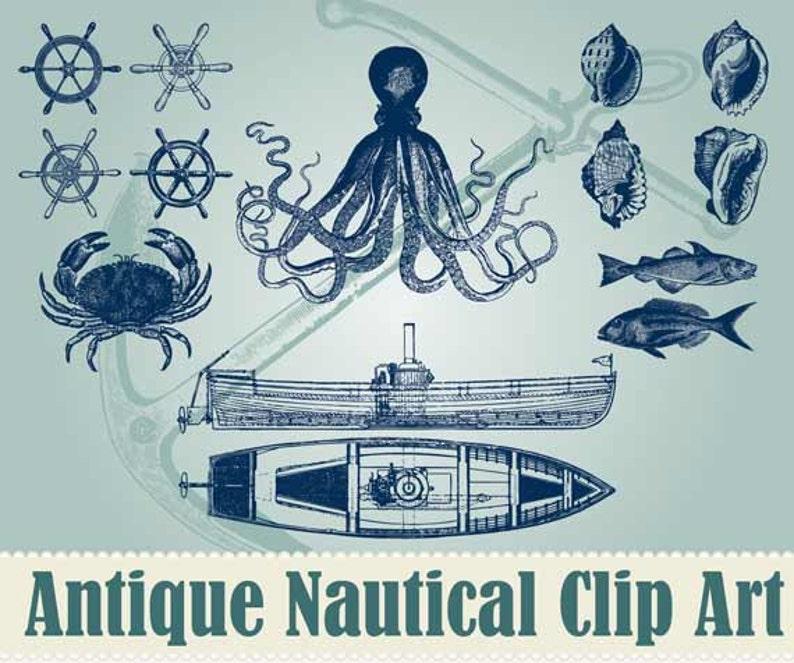Vintage Nautical Clip Art Colection  100% Scalable Vector Art image 0