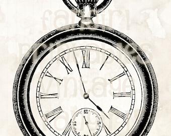 Antique Men's Pocket Watch Illustration - Digital JPGs & PNG Instant Printable Download