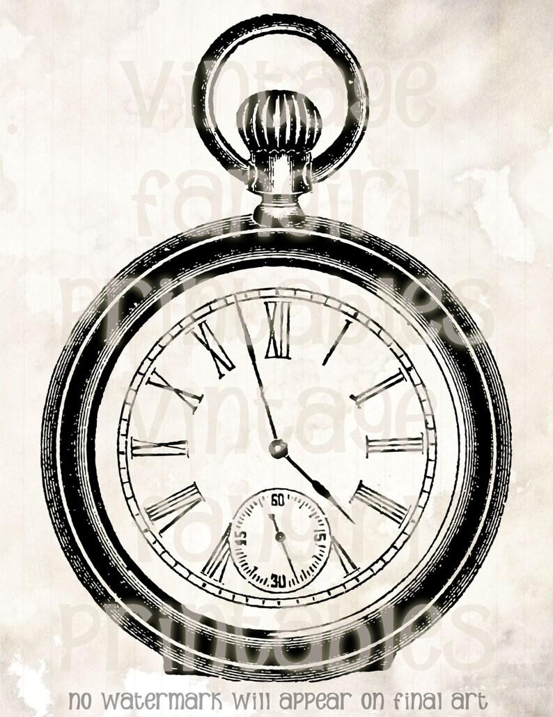 Antique Men's Pocket Watch Illustration  Digital JPGs & image 0