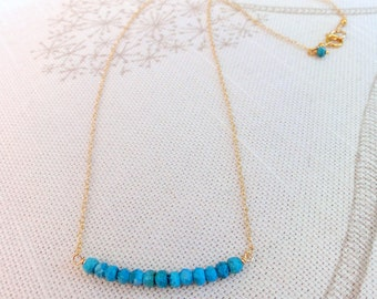 Faceted turquoise & gold necklace