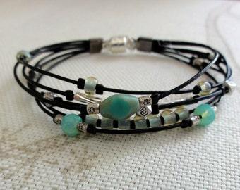 Multi-Strand Leather Beaded Bracelet - Aqua, Turquoise, Silver, and Leather Bracelet
