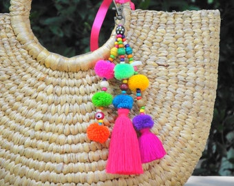 Handbag decor Straw Bag tassel charm Layered tassel charm Unique Gifts,Gift for Her Tassel Pompoms Charm 9.5 Tassel bag charm