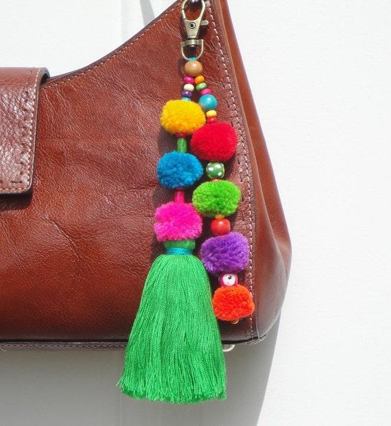 color 1 Colorido Pom Pom Borla Bolsa Charm Paja Playa Bolsa Colgante Llavero Llaveros para Las Mujeres Bolso Tote Decor