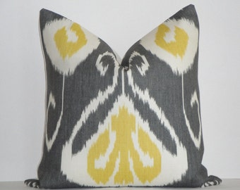 Decorative Pillow Cover  / Throw Pillow / Accent Pillow /  Charcoal Grey / Yellow / IKAT / Kravet / Toss Piillow