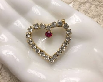 Vintage Rhinestone Heart Pin Valentine Sweetheart