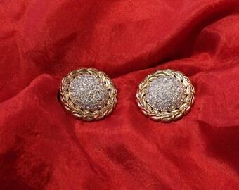 Vintage signed Crown Trifari Pave set Rhinestone Earrings