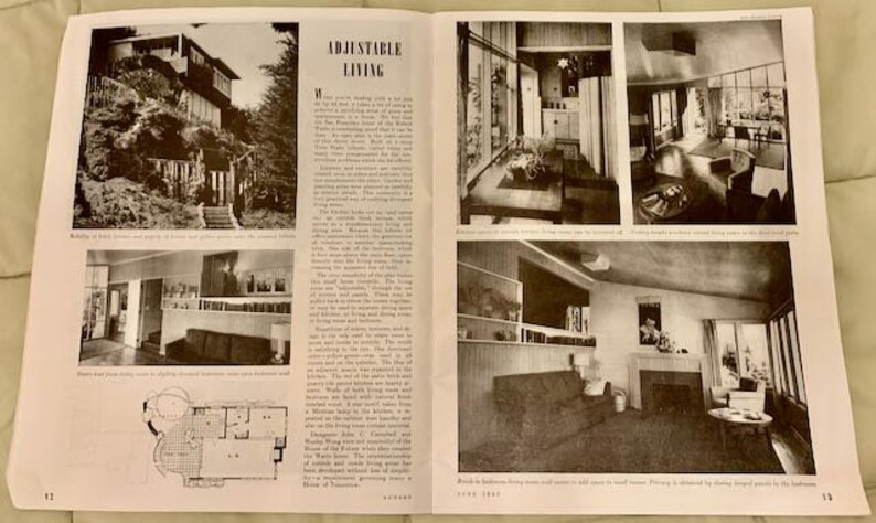 Vintage 1943 Soquel Calif WW2 Sunset Magazine The Adobe Home of Doris and Bruce Aller