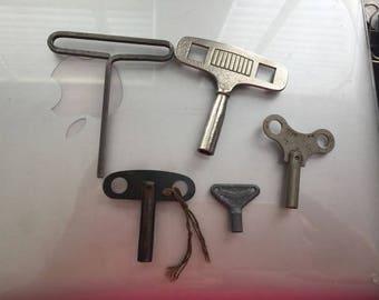 5 Vintage Antique Misc Winder Keys