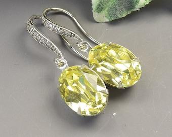 Yellow Earrings - Swarovski Crystal Earrings Silver - Wedding Earrings - Bridesmaid Earrings - Crystal Drop Earrings - Wedding Jewelry