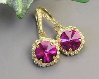 Pink Earrings Gold Dangle Earrings Fuchsia Swarovski Earrings Halo Bridesmaids Earrings Crystal Drop Bridal Earrings Bridesmaid Jewelry