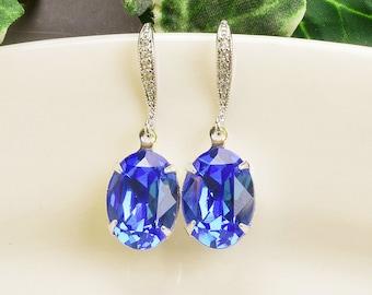 Sapphire Earrings - Swarovski Earrings - Royal Blue Earrings - Crystal Drop Earrings Silver - Bridesmaids Earrings - Bridesmaid Jewelry