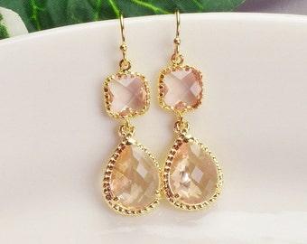 Blush Earrings - Gold Champagne Earrings - Peach Glass Drop Earrings - Blush Bridesmaid Earrings - Wedding Jewelry - Bridesmaid Jewelry