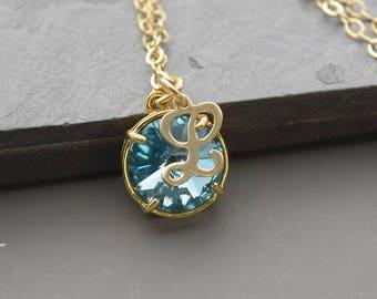 Aquamarine Necklace Gold March Birthstone Jewelry for Mom Personalized Birthstone Necklace for Grandma Birthday Gift - New Mom Push Present