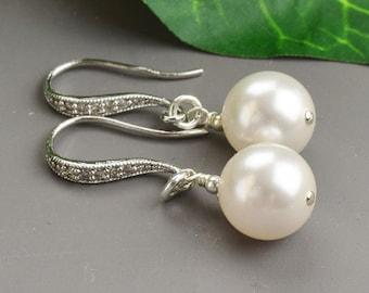 White Pearl Earrings Bridal - Bridesmaid Earrings - White Pearl Drop Earrings Silver -  Wedding Earrings - Bridal Jewelry - Pearl Jewelry