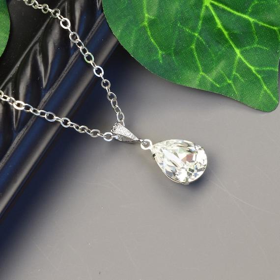 Clear Crystal Necklace Clear Swarovski Crystal Pendant | Etsy