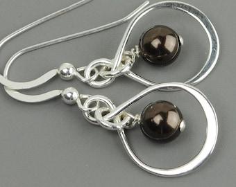 Brown Earrings - Sterling Silver Infinity Earrings - Pearl Drop Earrings - Bridesmaid Jewelry  - Swarovski Earrings - Pearl Jewelry
