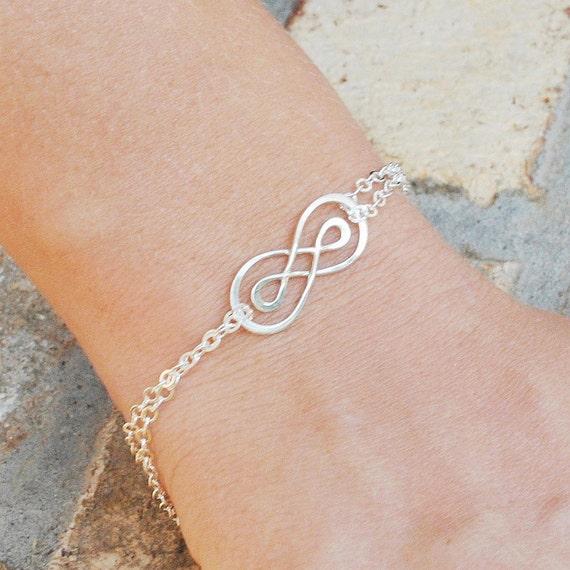 Double Infinity Bracelet Best Friend Gift Sterling Silver