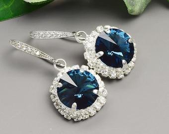 Navy Blue Earrings - Swarovski Earrings - Sapphire Earrings - Crystal Drop Earrings Silver - Wedding Jewelry - Bridesmaid Earrings