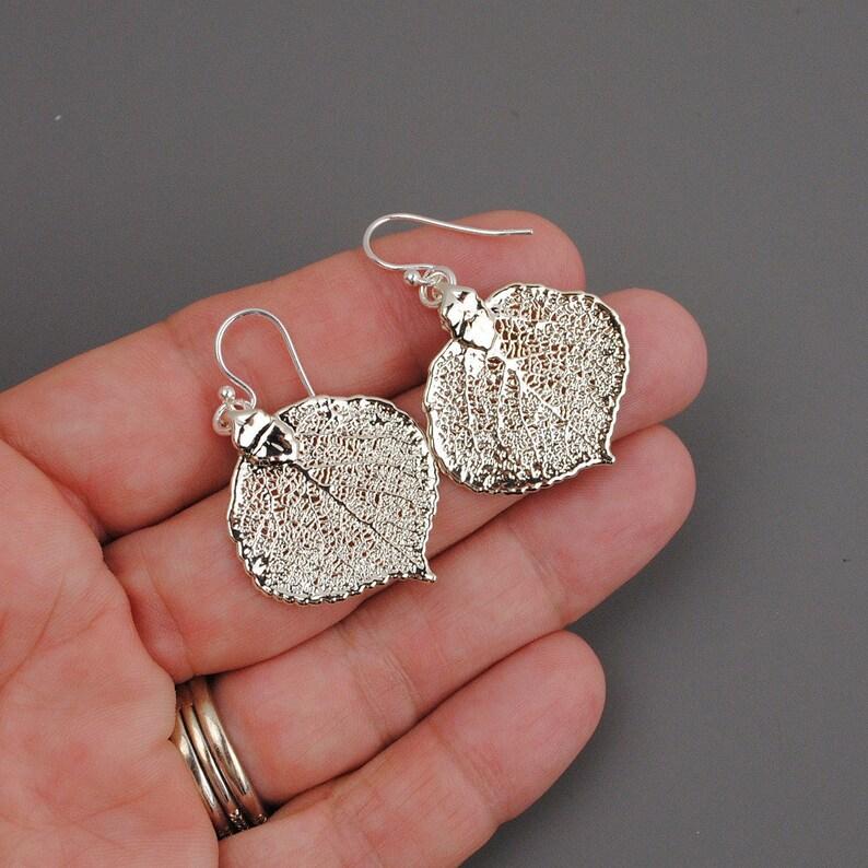 Leaf Earrings Sterling Silver Drop Earrings Nature Jewelry Outdoors Gift for Mom Dangle Earrings Silver Leaf Jewelry