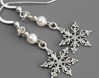 Sterling Silver Snowflake Earrings - Swarovski Earrings - Pearl Drop Earrings - Snowflake Jewelry - Winter Wedding - Christmas Earrings