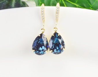 Navy Blue Earrings - Swarovski Earrings - Bridesmaid Jewelry - Gold Sapphire Earrings - Bridesmaids Earrings - Bridal Jewelry