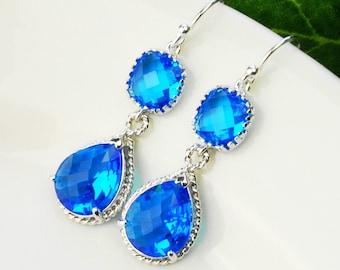 Sapphire Earrings - Crystal Earrings - Blue Earrings - Teardrop Earrings for Women -  Bridesmaids Earrings - Wedding Jewelry
