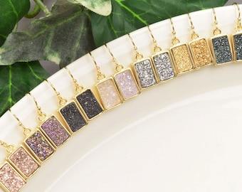 Druzy Earrings - Gold Earrings for Women - Druzy Jewelry - Gold Drop Earrings - Gemstone Earrings - Gold Dangle Earrings - Dainty Earrings