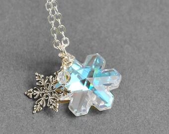 Sterling Silver Snowflake Necklace -Swarovski Crystal Snowflake Pendant Necklace - Snowflake Jewelry