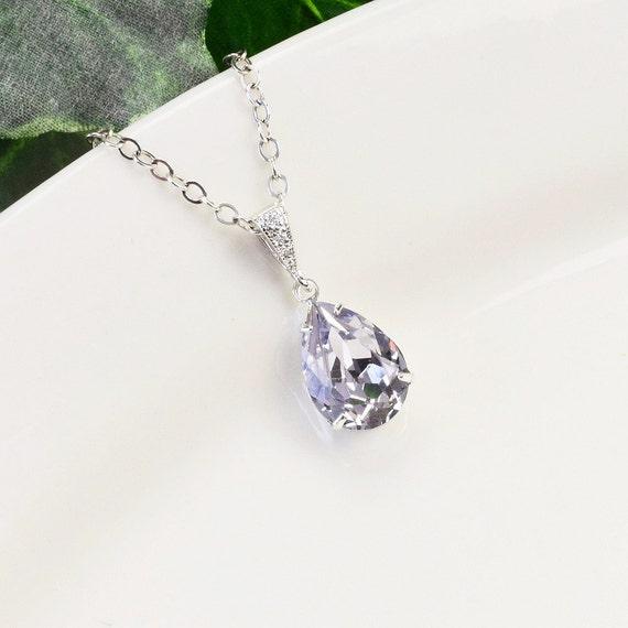 Sterling Silver Bridesmaid Necklace Bridesmaid Jewelry Bridal Jewelry Glass Necklace Silver Purple Necklace Amethyst Tanzanite