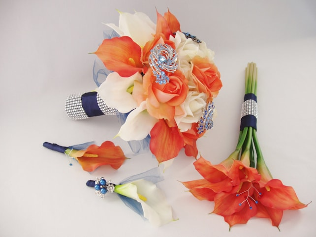 Coral navy white real touch silk flowers brooch wedding etsy image 0 mightylinksfo