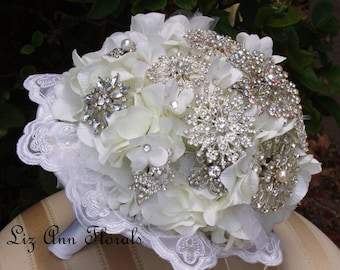 White Brooch Bouquet, Quinceanera Jeweled Wedding Bouquet, Heirloom Bouquet, Lace Bouquet Collar,Ready To Ship