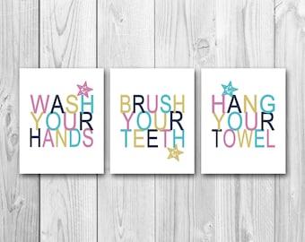 Bathroom Art Printable Instant Download Childrens Preppy Colors