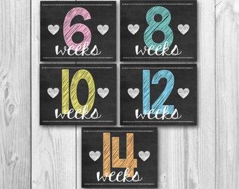 Pregnancy calendar countdown, weekly pregnancy signs, chalkboard printable, pregnancy stats, photo prop, 17 files