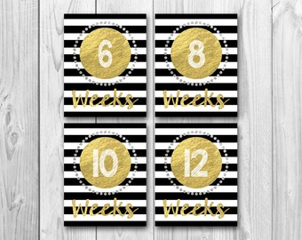 Pregnancy countdown, weekly pregnancy signs, gold sparkle, pregnancy photo props, gold and black