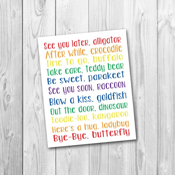 photograph about See You Later Alligator Poem Printable known as Look at on your own later on alligator, nursery artwork, playroom artwork, printable, prompt obtain