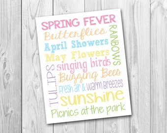 Spring subway art, seasonal decor, instant download