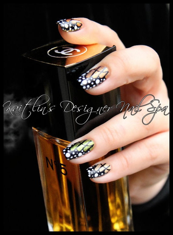 Butterfly Wings Hand Painted Designer Gel Artificial Nail Art Etsy