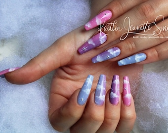 Hand Painted Cloud Press On Gel Nails