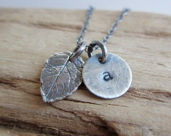Rose Leaf with Initial Disc Sterling Silver Necklace