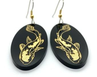 Japanese Koi Dangle Earrings, Black acrylic, gold paint, Oval, Hand Painted, Laser cut, Kingyo, Asian, Zen, Hypoallergenic steel