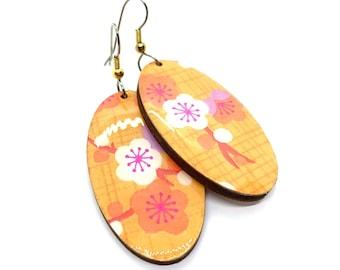 Orange Plum Flower Japanese Earrings, Spring, Chiyogami paper, Yuzen, origami, Oval dangles, laser cut, hypoallergenic, lightweight, Ume