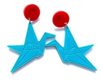 Origami Crane Earrings, Turquoise and Red, Japanese inspired, Asian, laser cut, acrylic, surgical steel studs, zen