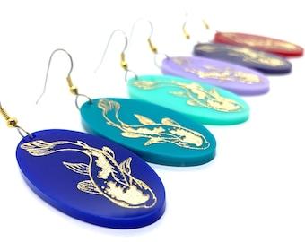 Japanese Koi Earrings, Acrylic, Turquoise, Aqua, Red, Purple, gold, Oval, Hand Painted, Laser cut, Kingyo, Asian, Zen, Hypoallergenic steel
