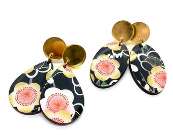 Cherry Blossom Stud Dangle, Kimono washi tape, Gold mirror acrylic, Black and gold, Wood, Lightweight, Laser cut, Resin, steel posts