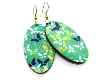 Green butterfly Japanese Earrings, Chiyogami paper, Yuzen, origami paper, Oval dangles, laser cut, hypoallergenic, lightweight, zen