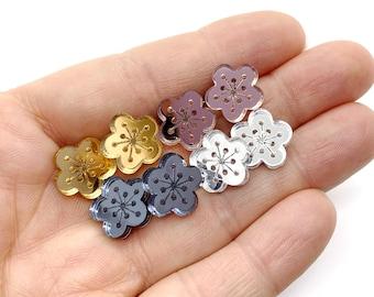 Cherry Blossom Earrings, Rose Gold Stud, Flower, KAWAII, Mirror Acrylic, laser cut, Bridesmaids, lightweight, hypo allergenic steel