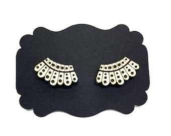 Dissent Earrings, RBG, Notorious RBG, Ruth Bader Ginsburg, Collar Earrings, Vote Earrings, Engraved wood studs, Supreme Court