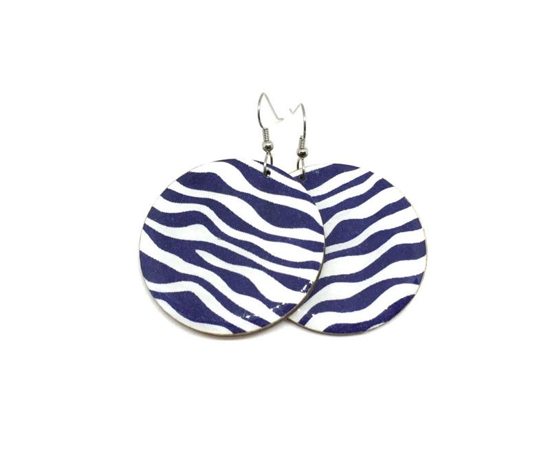 Indigo Japanese Earrings Navy Zebra like pattern blue image 0