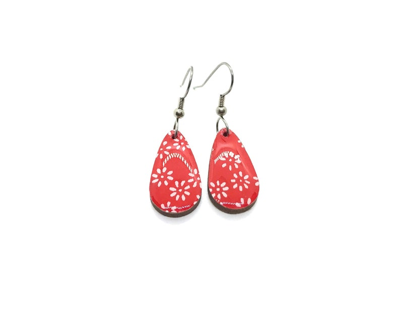 Red and White Earrings Small Drop Bridesmaid gift image 0