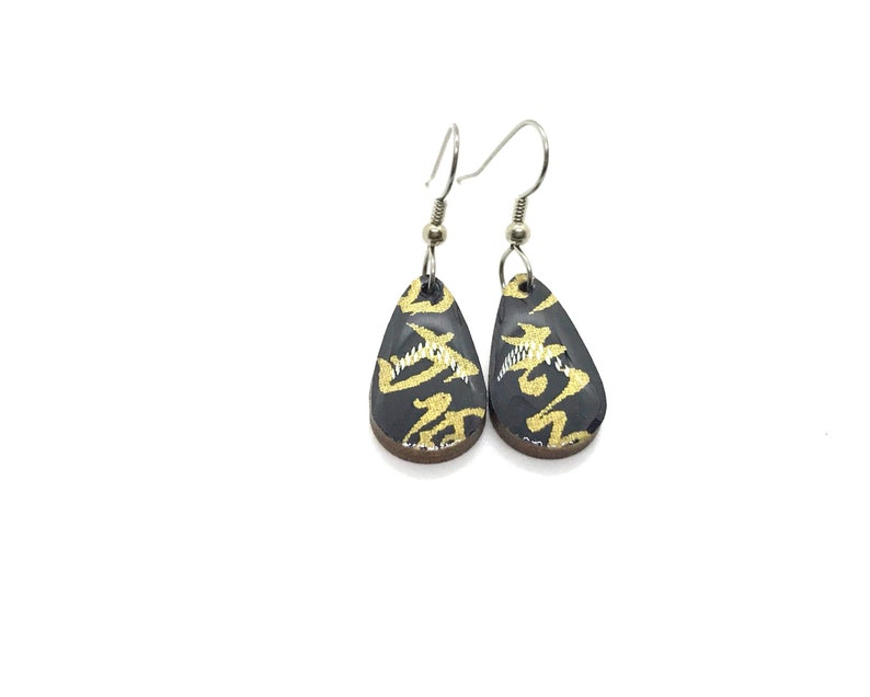 Black and Gold Earrings Calligraphy Small Drop Japanese image 0